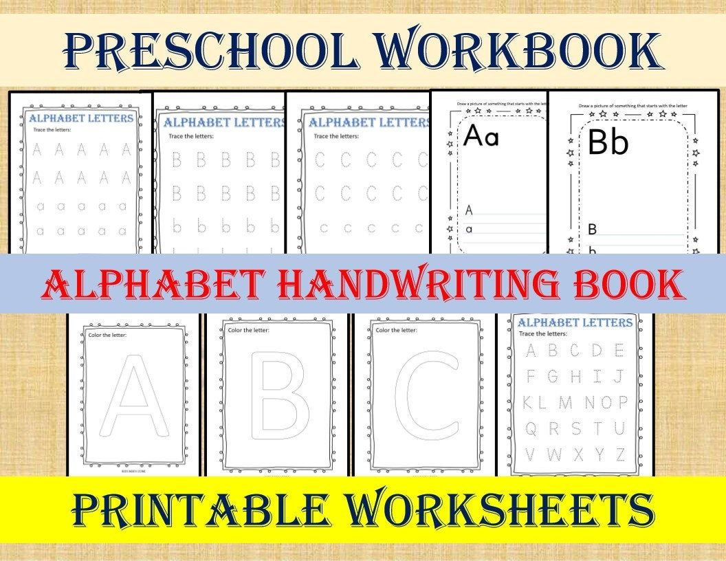Preschool Workbook Alphabet Handwriting Book