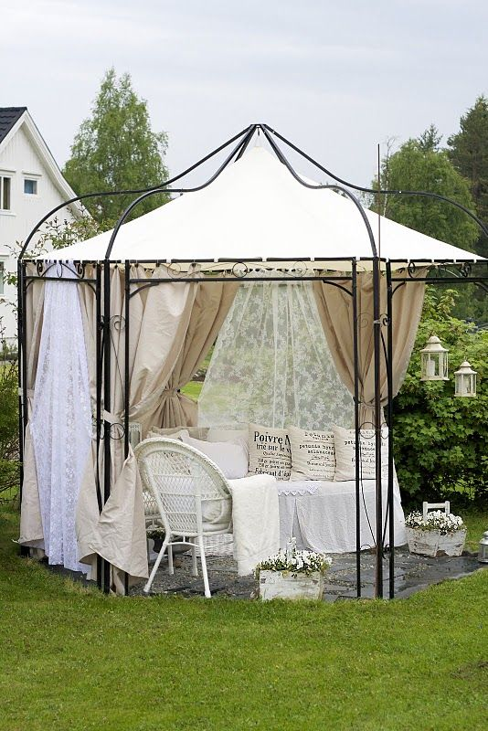 Lace Curtains In Gazebo