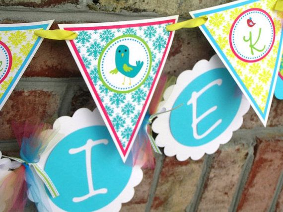 Sweet Bird Birthday Name Banner- Assembled and Personalized via Etsy