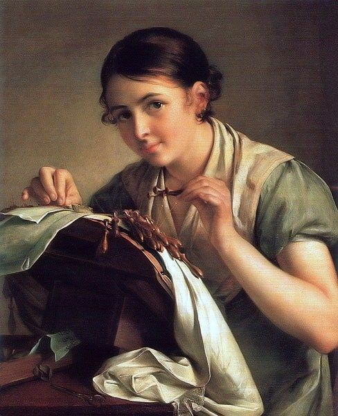 Vasily Tropinin (Russian artist, 1776-1857) The Lace Maker 1823