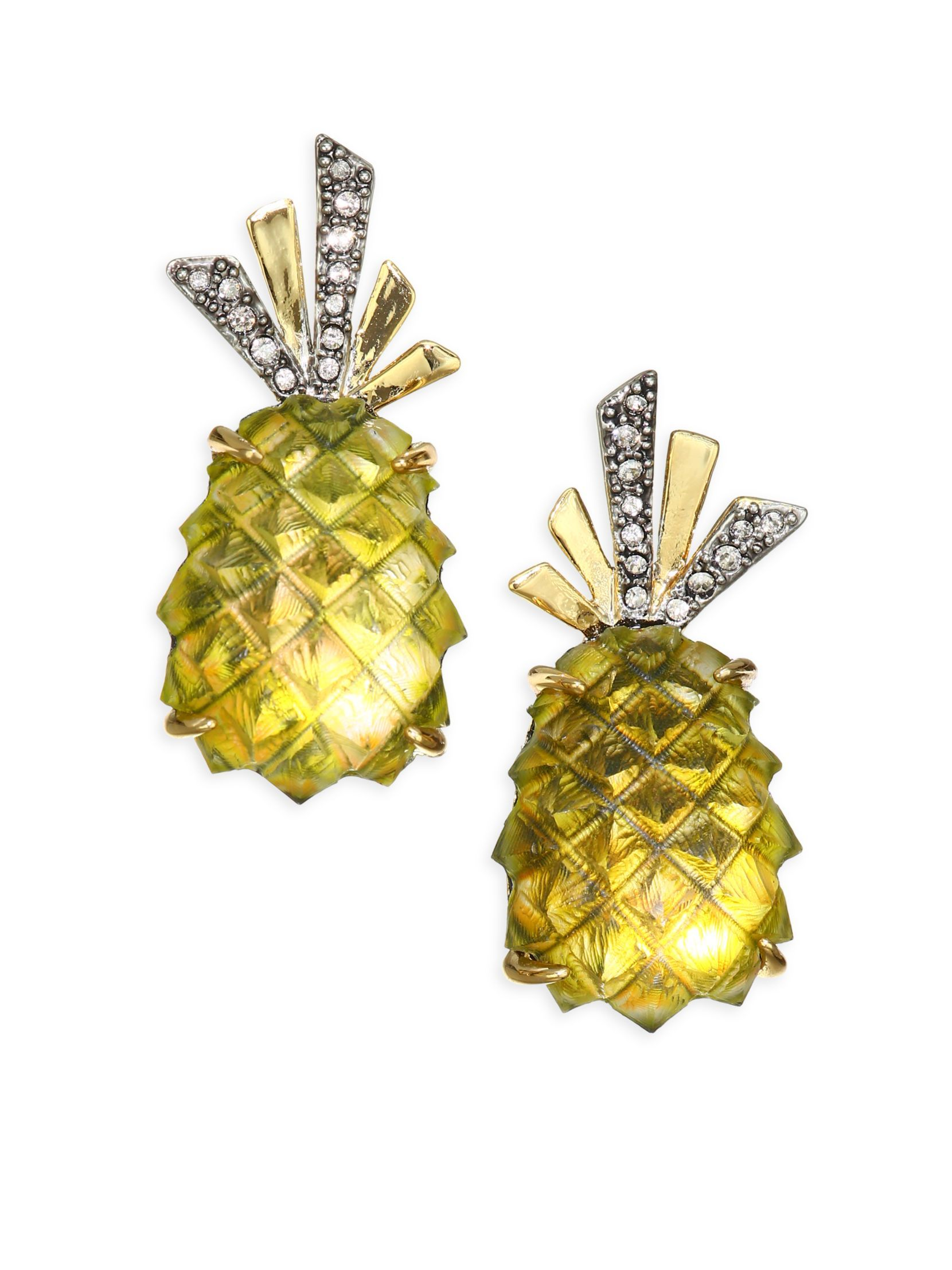 Alexis Bittar Pineapple Lucite Clip-On Earrings IC0Rhp