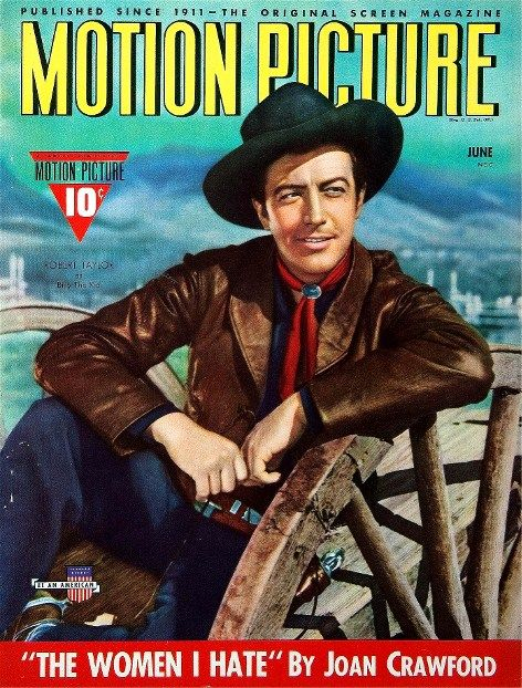 BILLY THE KID - Robert Taylor as 'William F. Bonney' (aka 'Billy the Kid' - MGM - MOTION PICTURE magazine.