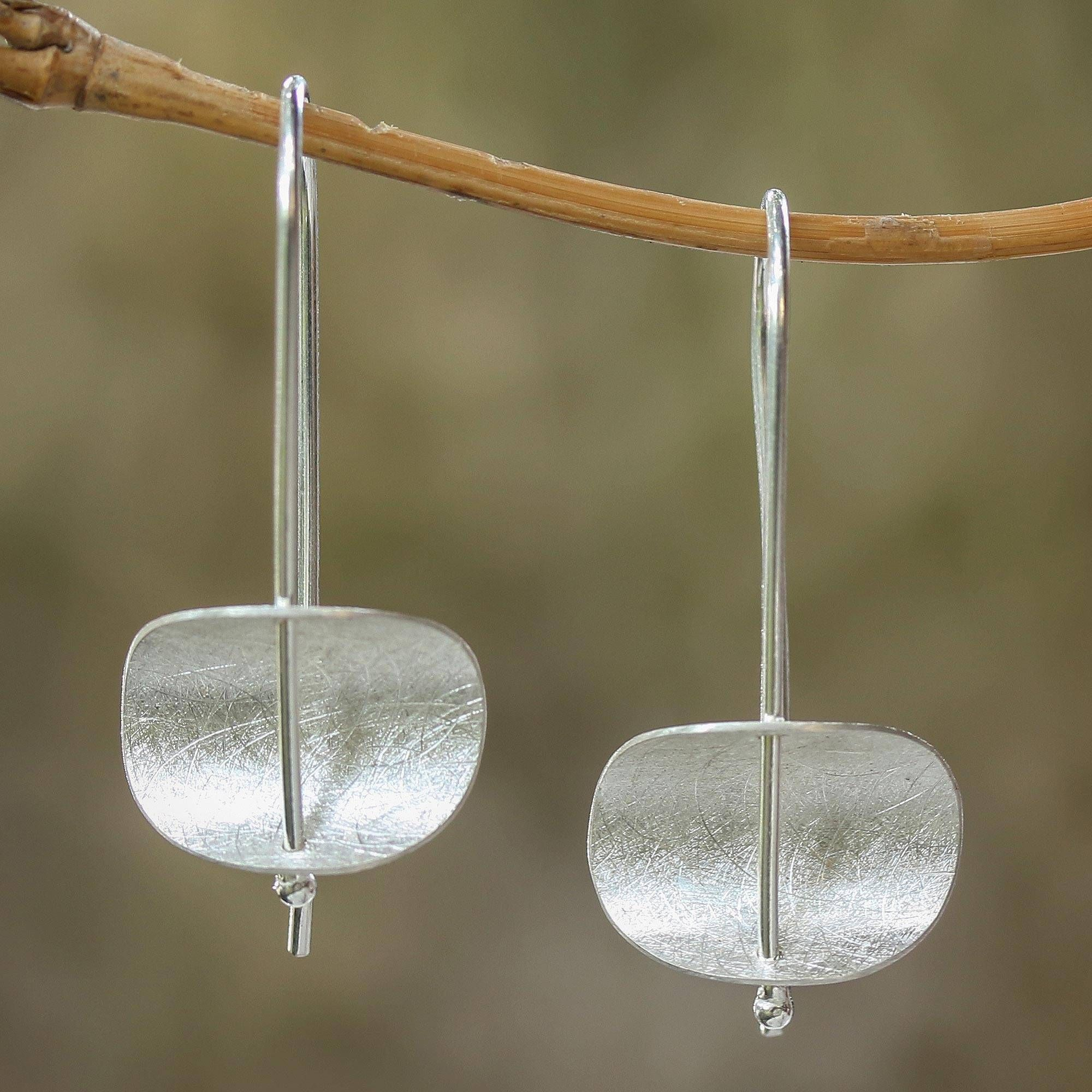 Threader Drop 925 Brushed Sterling Silver Earrings in a Gift Box