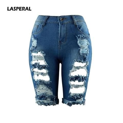 6ee8803b75 LASPERAL Women 2018 Summer Half Length Jeans Ripped New High Waist Fashion  Streetwear Hole Stretch Slim Torn Woman Denim Shorts