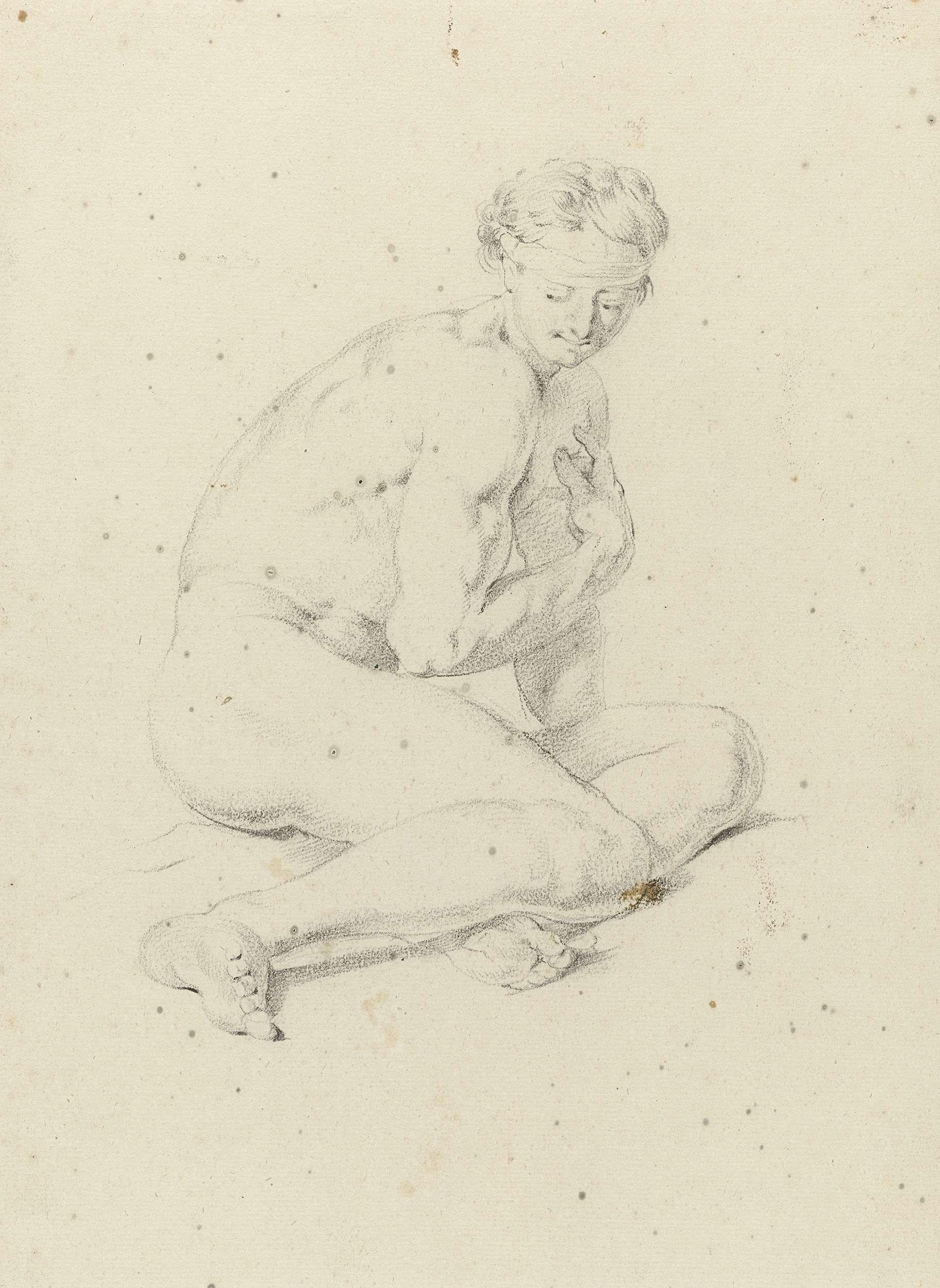 Jan Hoogsaat | Zittend mannelijk naakt, leunend op een arm, Jan Hoogsaat, 1664 - 1730 | Zittend mannelijk naakt, leunend op een arm, de andere arm voor de borst gehouden.