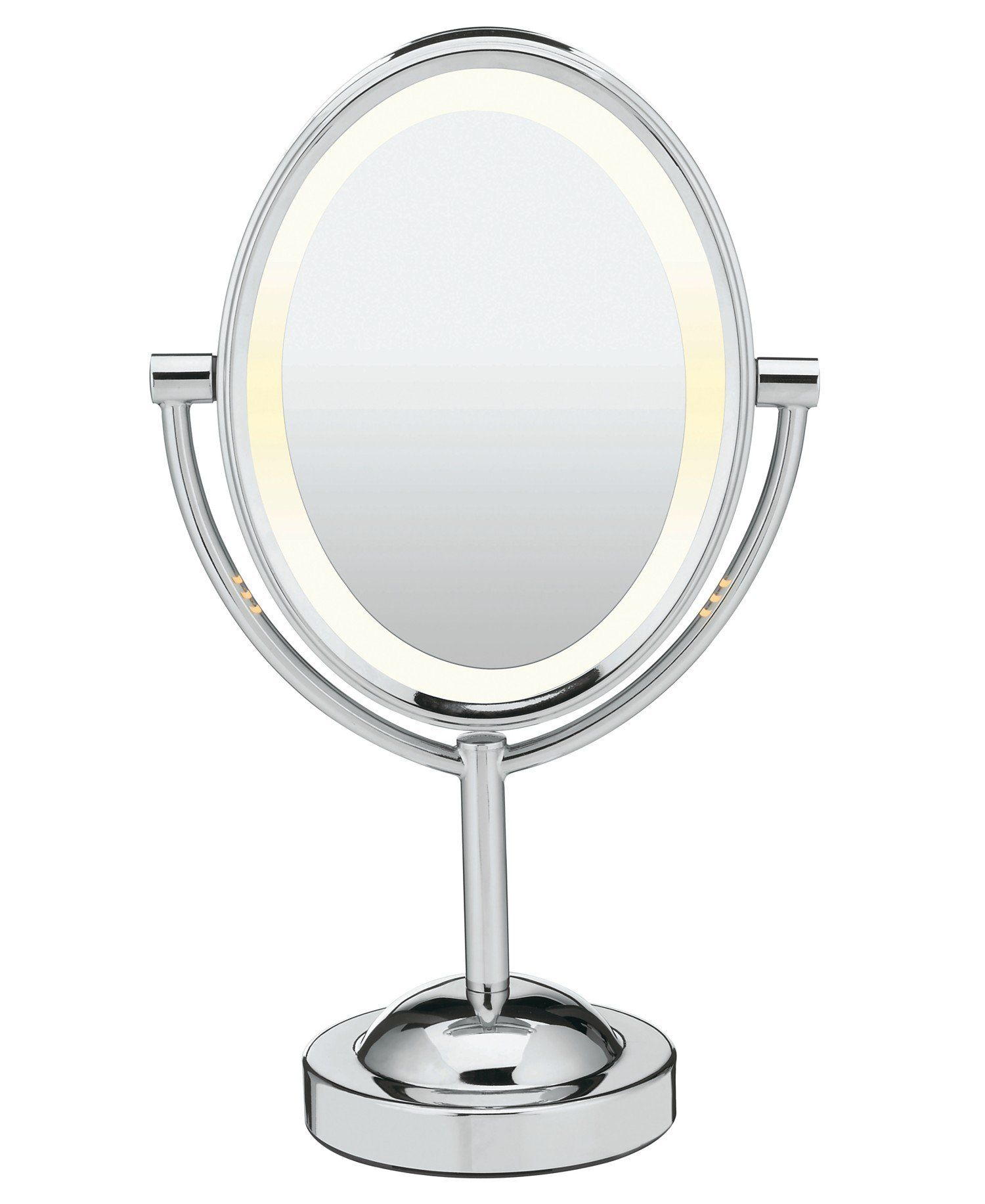 Conair Oval Double Sided Lighted Makeup Mirror Polished Chrome Finish Makeup Mirror With