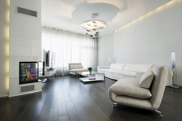 Dark Grey Hardwood Floors Living Room Design White Sofa Modern Lighting | White Walls Living Room, Dark Wood Floors Living Room, Interior Design Dining Room
