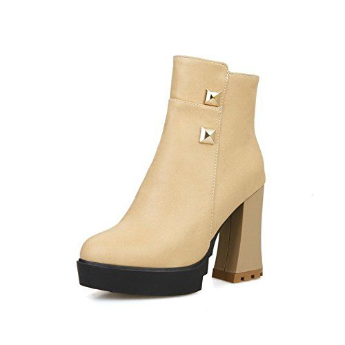 Women's Zipper High-Heels Imitated Suede Solid Low-Top Boots Apricot 38