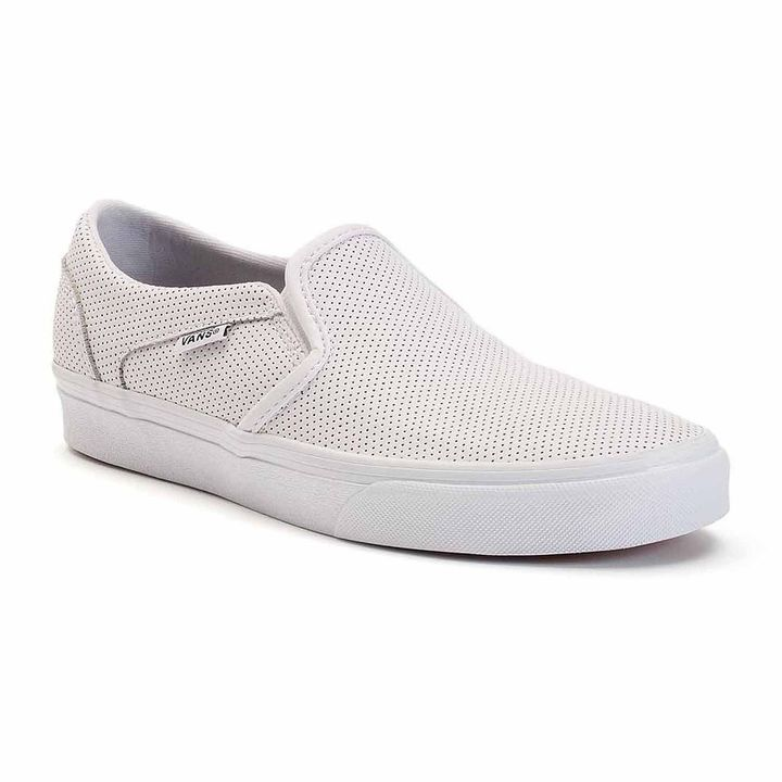 Vans Perforated Leather Asher Womens Skate Shoes  bce77dd7a
