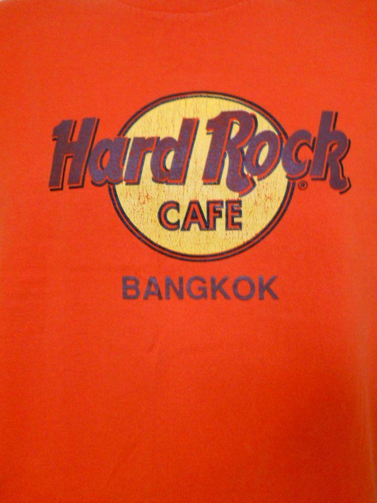 Hard Rock Cafe Orange Tee Shirt Bangkok Thailand Large # ...