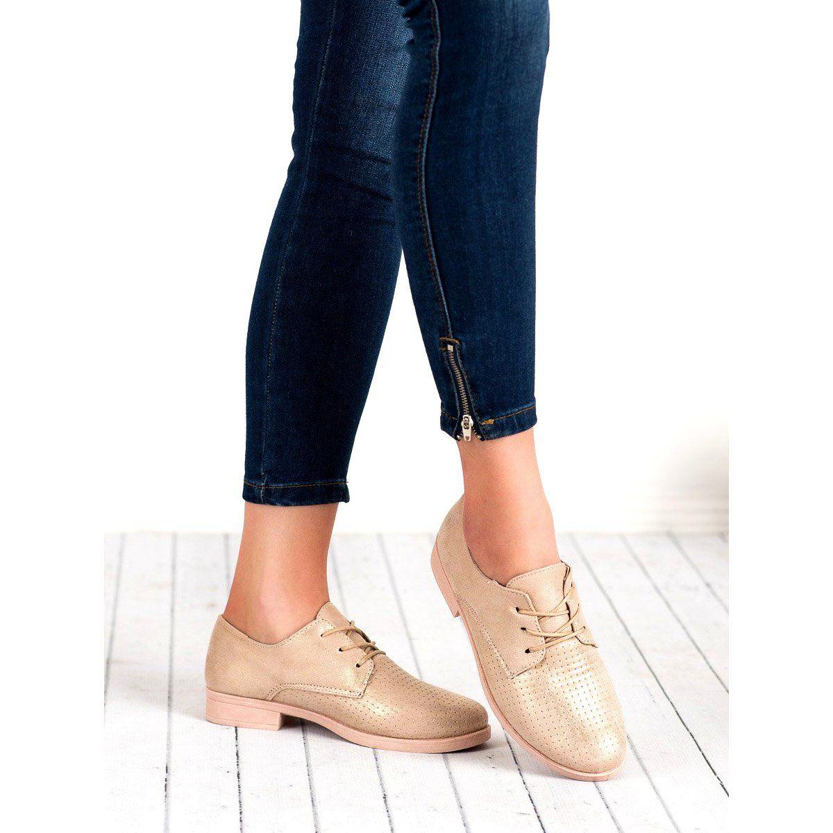 Bless Eleganckie Polbuty Damskie Zolte Oxford Shoes Womens Oxfords Shoes