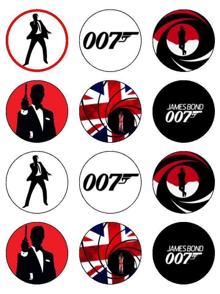 Edible James Bond Cake Decorations