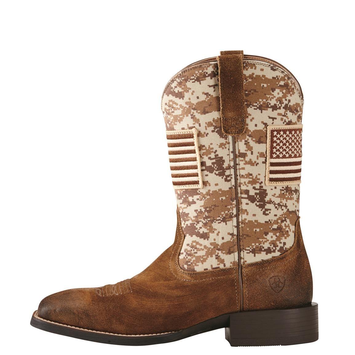 Ariat Men's Sport Patriot Cowboy Boots, Mocha Suede / Sand
