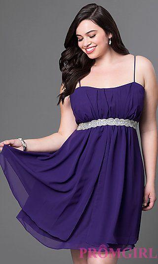 772864f2e8 Spaghetti Strap Short Empire Waist Dress at PromGirl.com