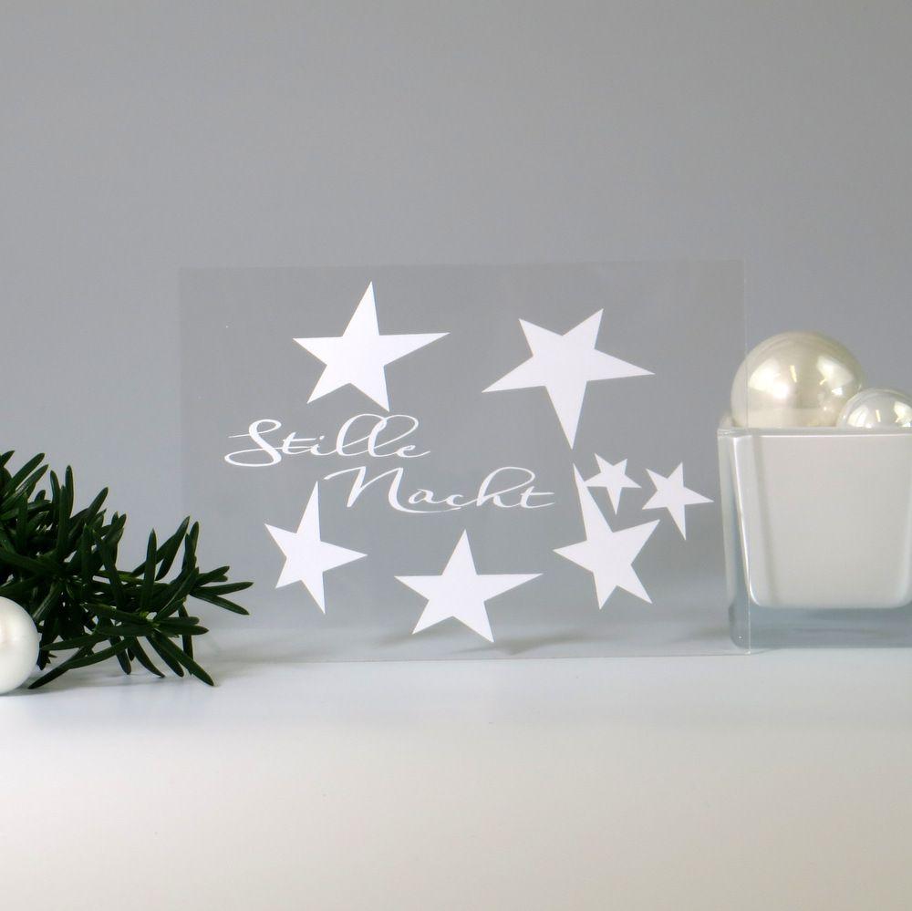Acryl Weihnachtskarte Stille Nacht Tischkarten