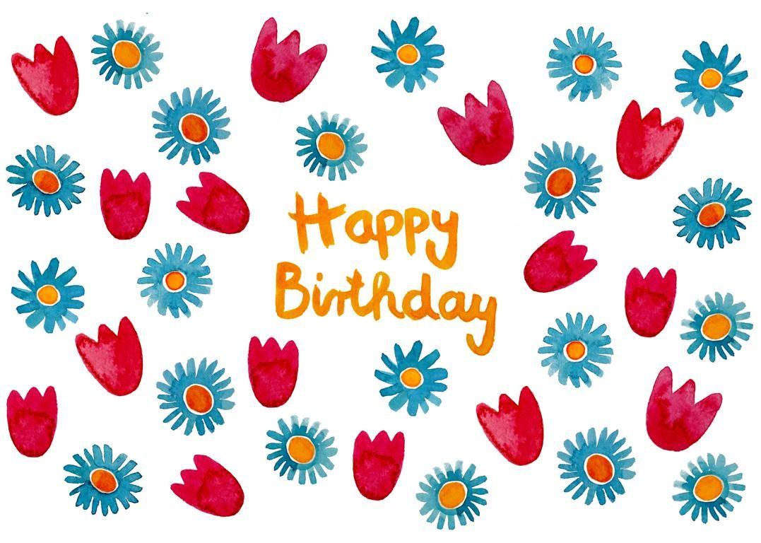 Postkarte Happy Birthday Mit Blumen Frauottilie