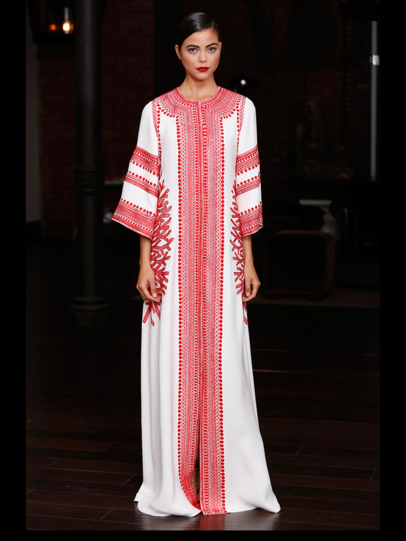 Reem Acra Resort 13 coral emb. And why not a caftan. Why not ...