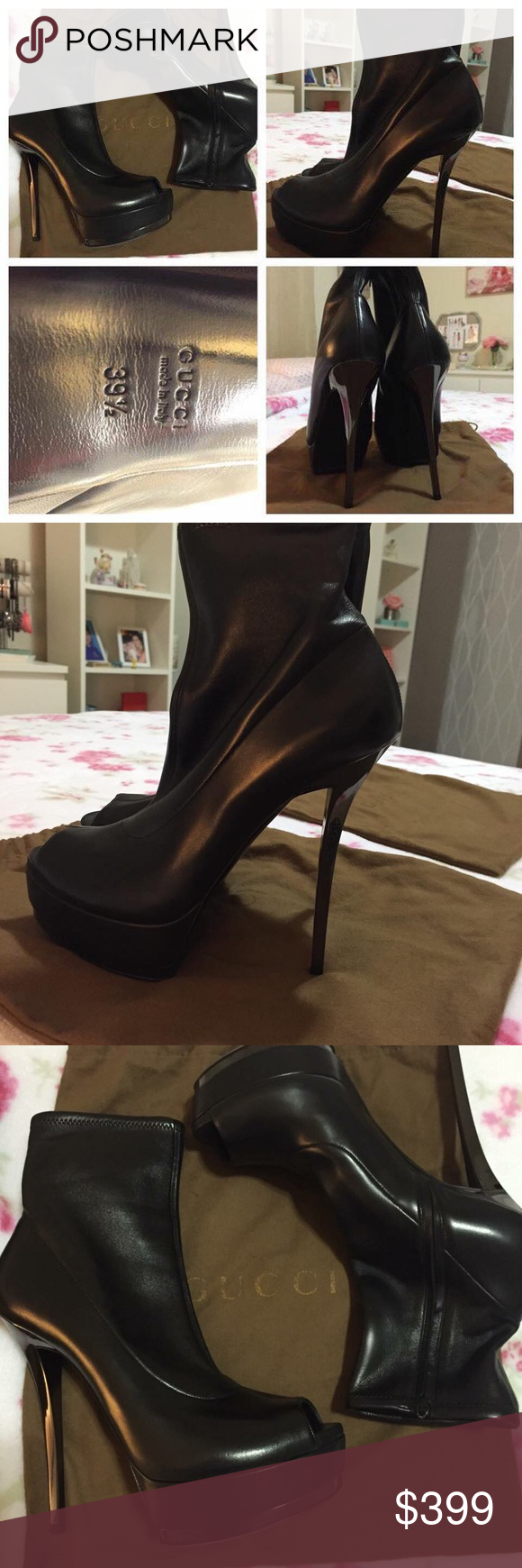 Gucci Kills Platform Booties Brand new // never used // Gucci Kills Platform open toe Booties // Italian size 39.5 (9US)  // with original box and dust bags. //**Ankle opening is only about 9 inches/ material has some stretch to it and can be worn partially zipped if you have a thicker leg but please consider this fact before purchasing! :) Gucci Shoes Ankle Boots & Booties