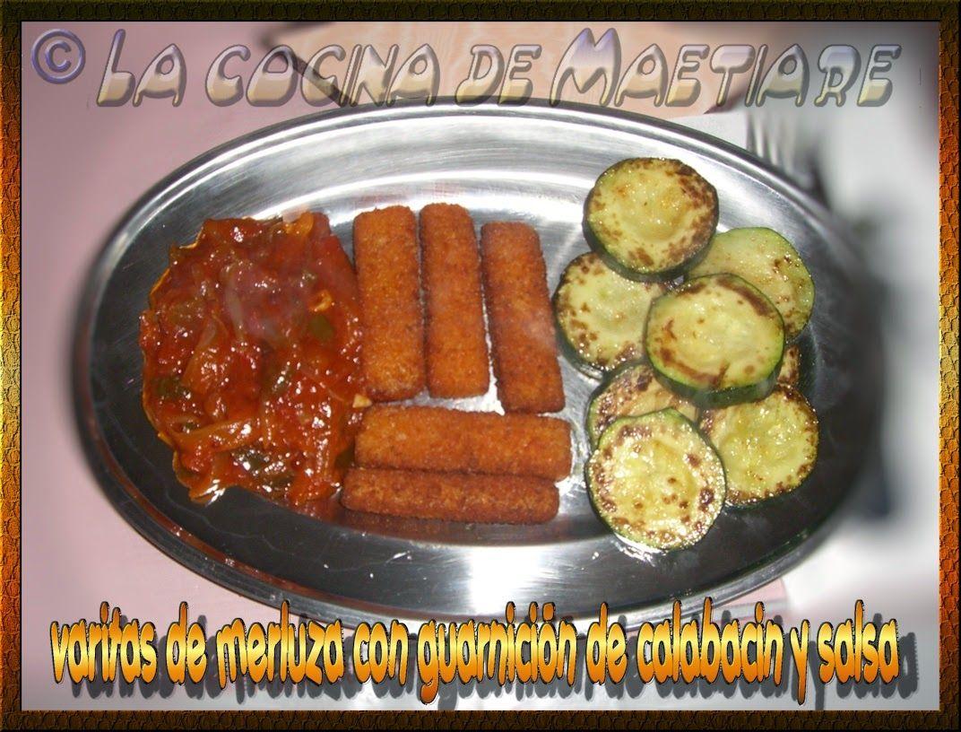 La cocina de Maetiare: Varitas de merluza con guarnición de calabacin y salsa de tomate,pimiento y cebolla