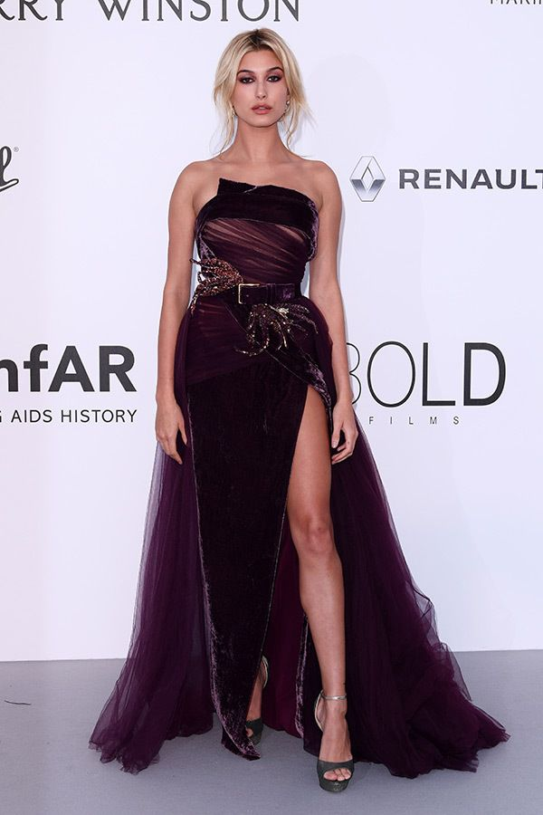 Hailey Baldwin in Elie Saab attends the AmfAR Gala during the 70th Annual Cannes Film Festival