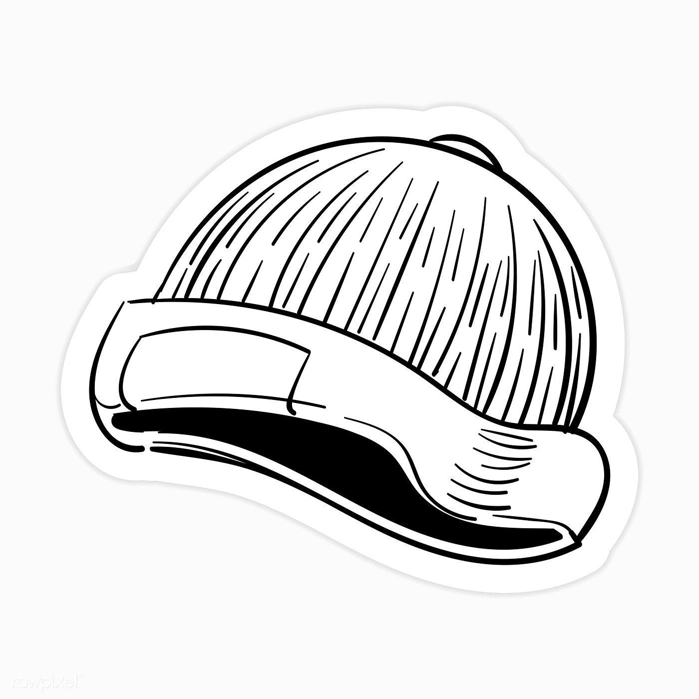 Download Premium Illustration Of Black And White Yarn Hat Sticker Sticker Black And White Stickers Black And White Doodle Cloud Stickers