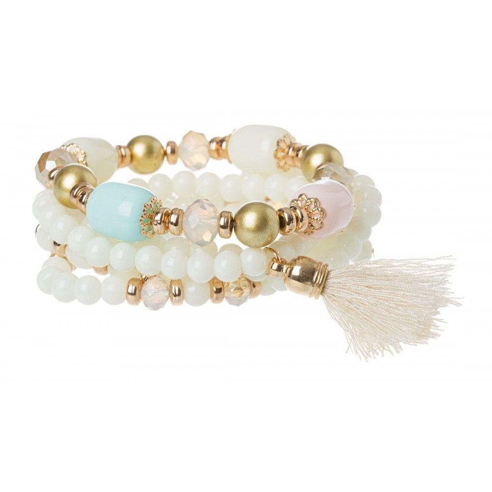 Pretty Bead Tassel Wristwear in #Ivory - 30177 - from @colettehayman (AUD $14.95). #Bracelets #White #Gold