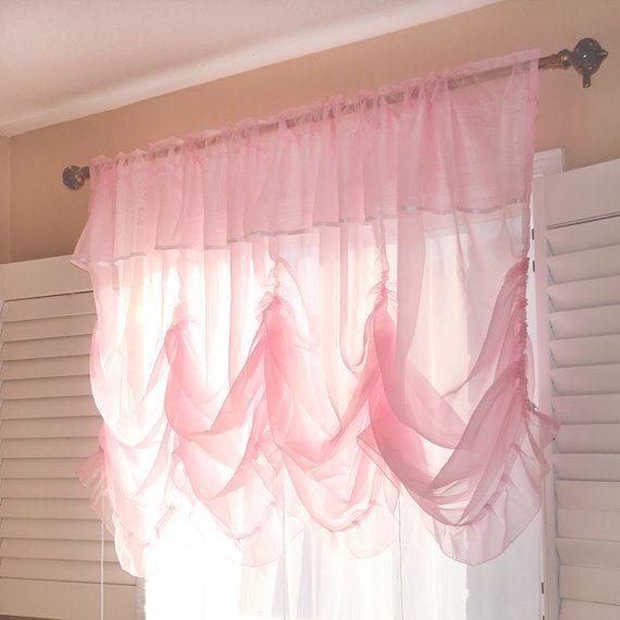 Pink Sheer Shabby Chic Balloon Curtain Shade