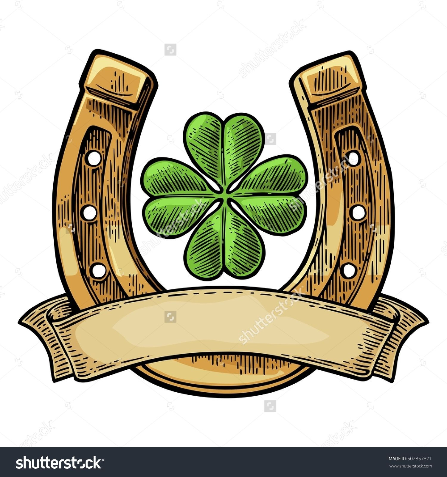 Stock vector good luck four leaf clover and horseshoe with ribbon good luck four leaf clover and horseshoe by morevector good luck four leaf clover and horseshoe with ribbon vintage vector color engraving illustration for biocorpaavc Choice Image