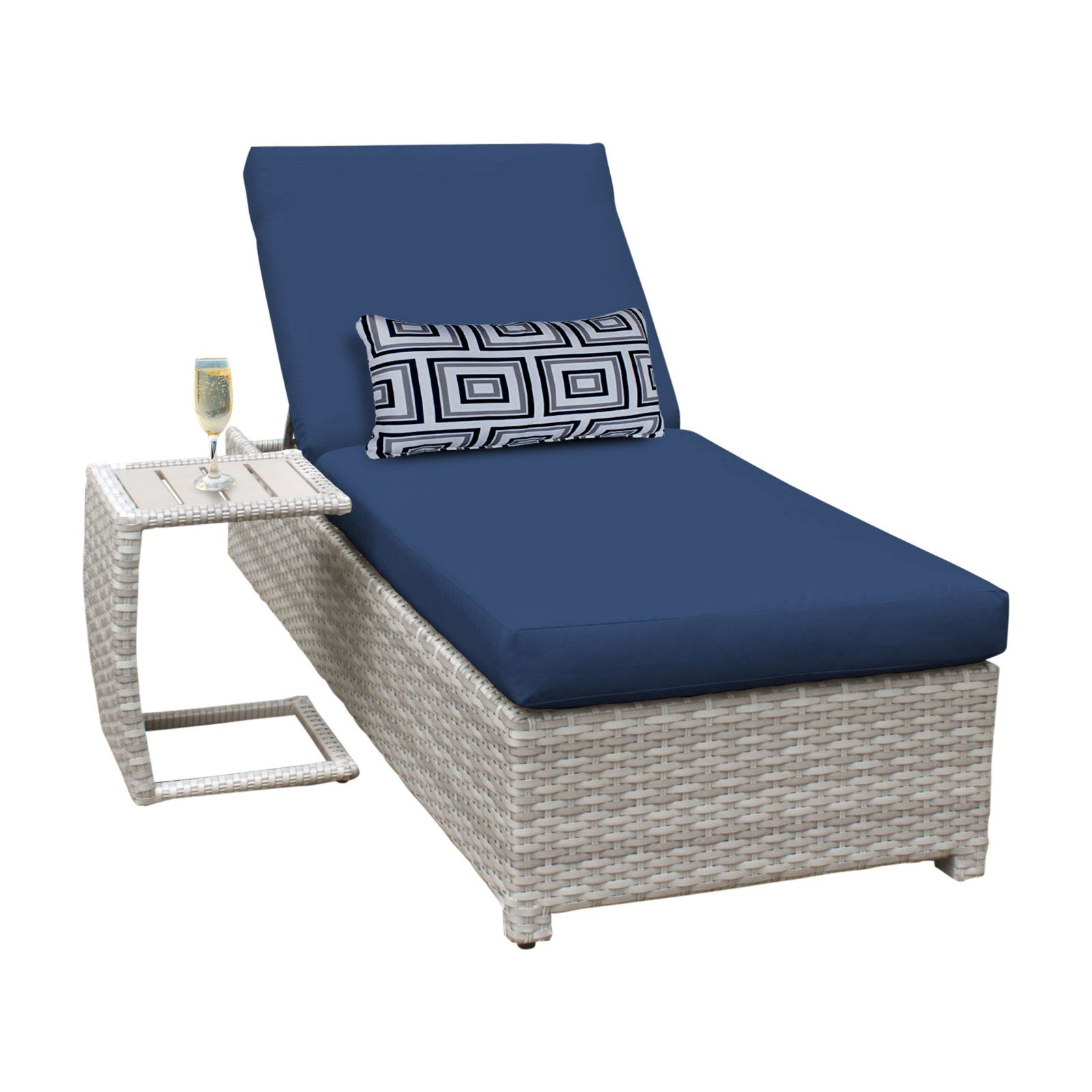 - TK Classics Fairmont 2 Piece Wheeled Wicker Outdoor Chaise Lounge