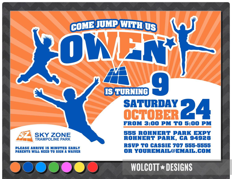Trampoline party invitation bounce house invitation Trampoline