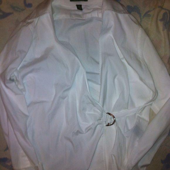 "EUC Lauren Ralph Lauren white wrap shirt Cotton 25"" shoulder to hem , 30"" sleeve, 41"" chest Ralph Lauren Tops"