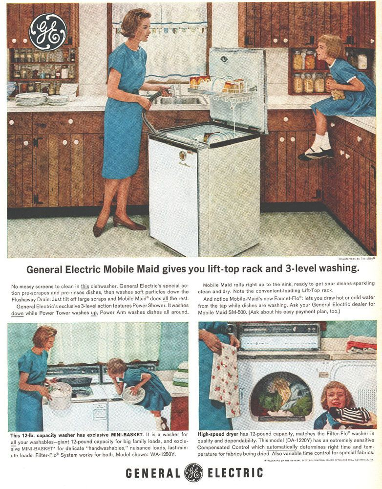 1963 Ad General Electric Mobile Maid Dishwasher Laundry Mom Print