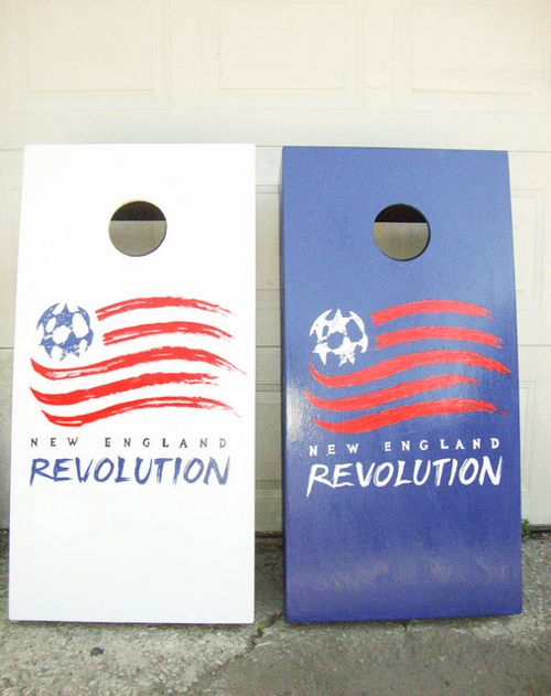 New England Revolution Major League Soccer sports team themed custom cornhole boards.