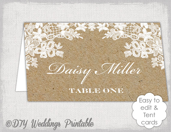 Rustic Place Card Template Rustic Lace Kraft Diy Printable Name Cards You Edit Word Jpg Avery 5302 Ten Place Card Template Wedding Name Cards Wedding Cards