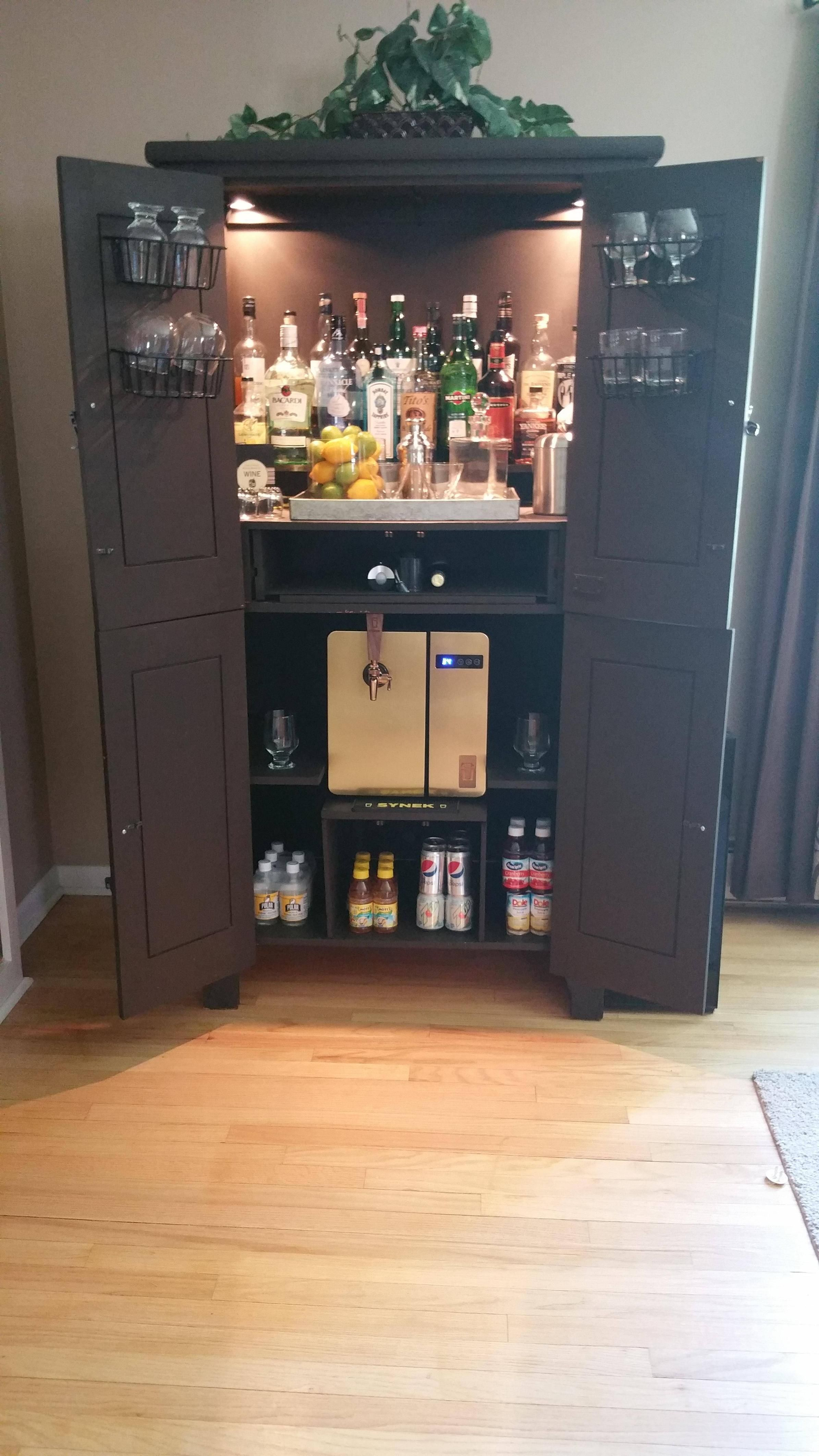 Upcycled / repurposed armoire converted into a dry bar / liquor ...