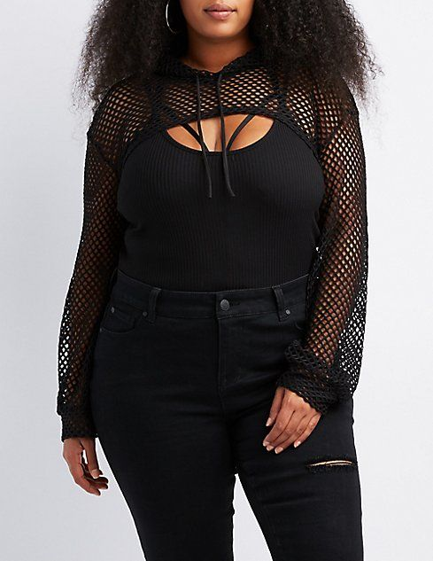 43751a0194d Plus Size Fishnet Mesh Open Cropped Hoodie