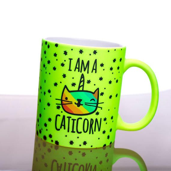 Funny Mug Caticorn Tea Cup Neon Coffee Fluorescent Cofe Super OXZPwikTu