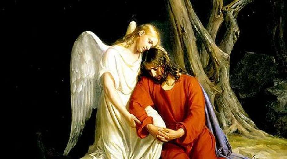 Billedet er malet af den danske maler Carl Bloch (1834-1890 og forestiller en engel, der trøster Jesus i ...
