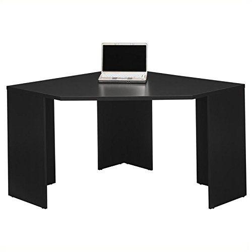 Pemberly Row Stockport Wood Corner Desk In Black Corner