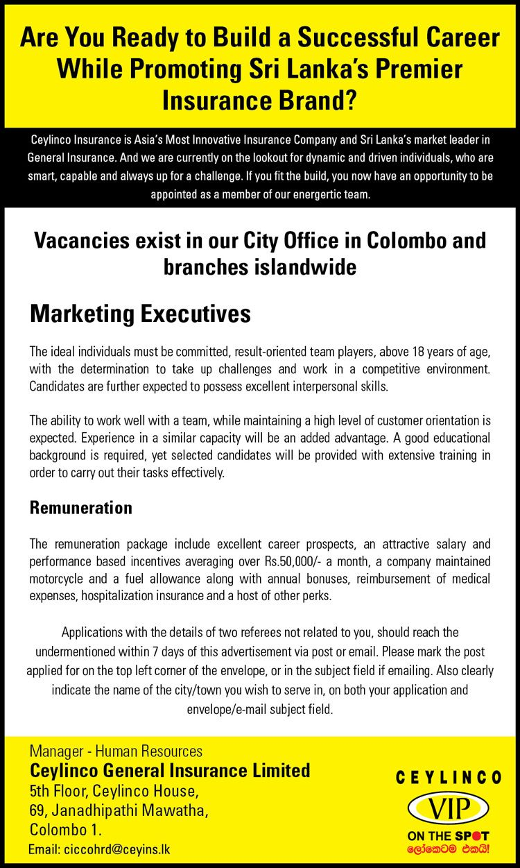Marketing Executive Job Vacancy At Ceylinco General Insurance