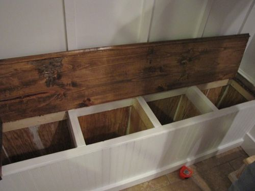 mudroom--built in bench with shoe storage inside | Laundry/Mudroom ...