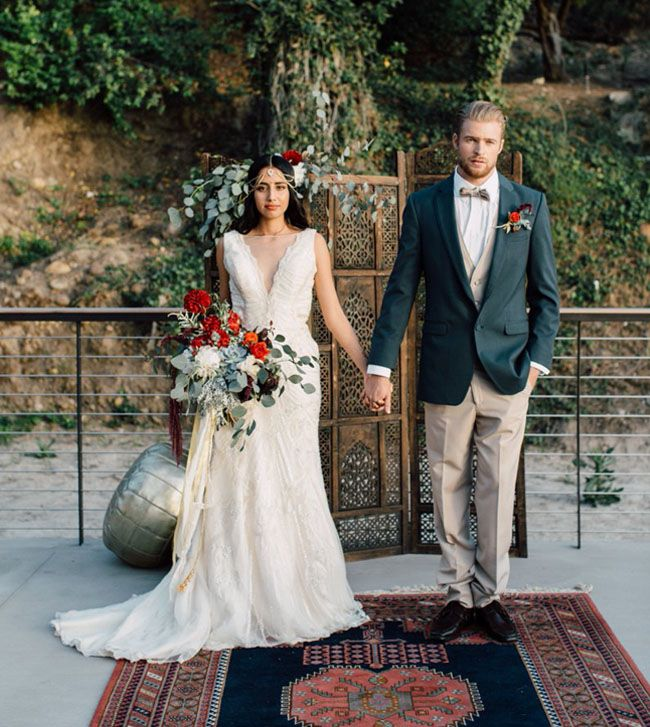 Bohemian Indian Wedding Inspiration Boho Wedding Dress Boho