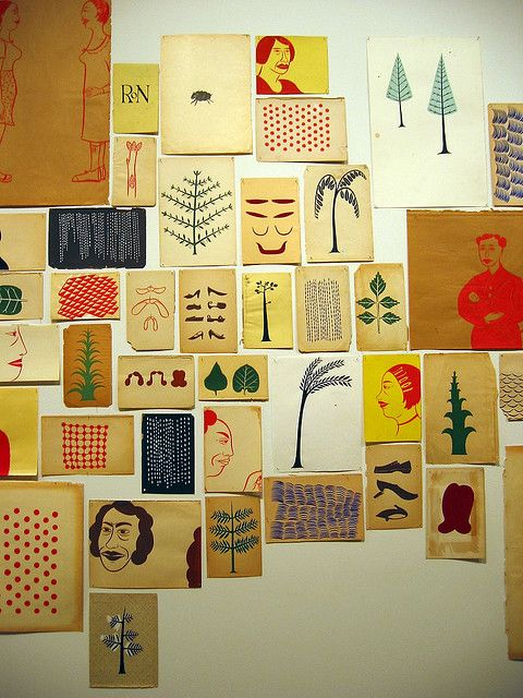 """Margaret Kilgallen - """"I like things that are handmade and I like to see people's hand in the world, anywhere in the world; it doesn't matter to me where it is. And in my own work, I do everything by hand....From a distance it might look straight, but when you get close up, you can always see the line waver. And I think that's where the beauty is."""""""