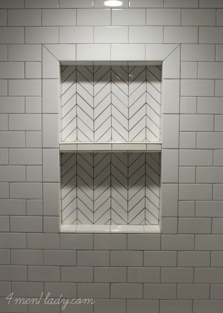 If Doing Subway Tile Add Chevron Tiles In Shampoo Nook Bathroom Design Bathrooms Remodel Remodel Bedroom