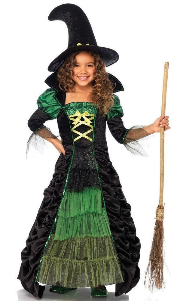 Green Black Halloween Witch Child Costume Tiered Ruched Skirt Tulle