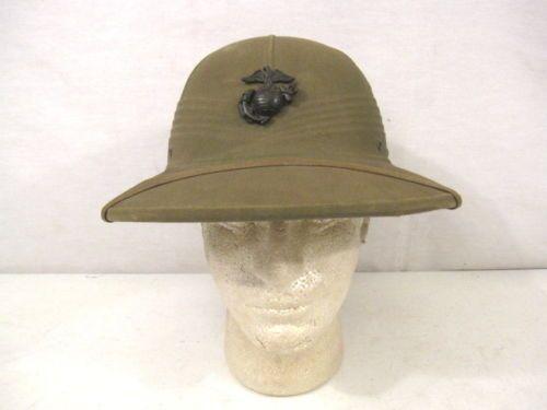 13fe5ad23 WWII Era USMC Marine Corps Tropical Pith or Sun Helmet   SOUTH ...