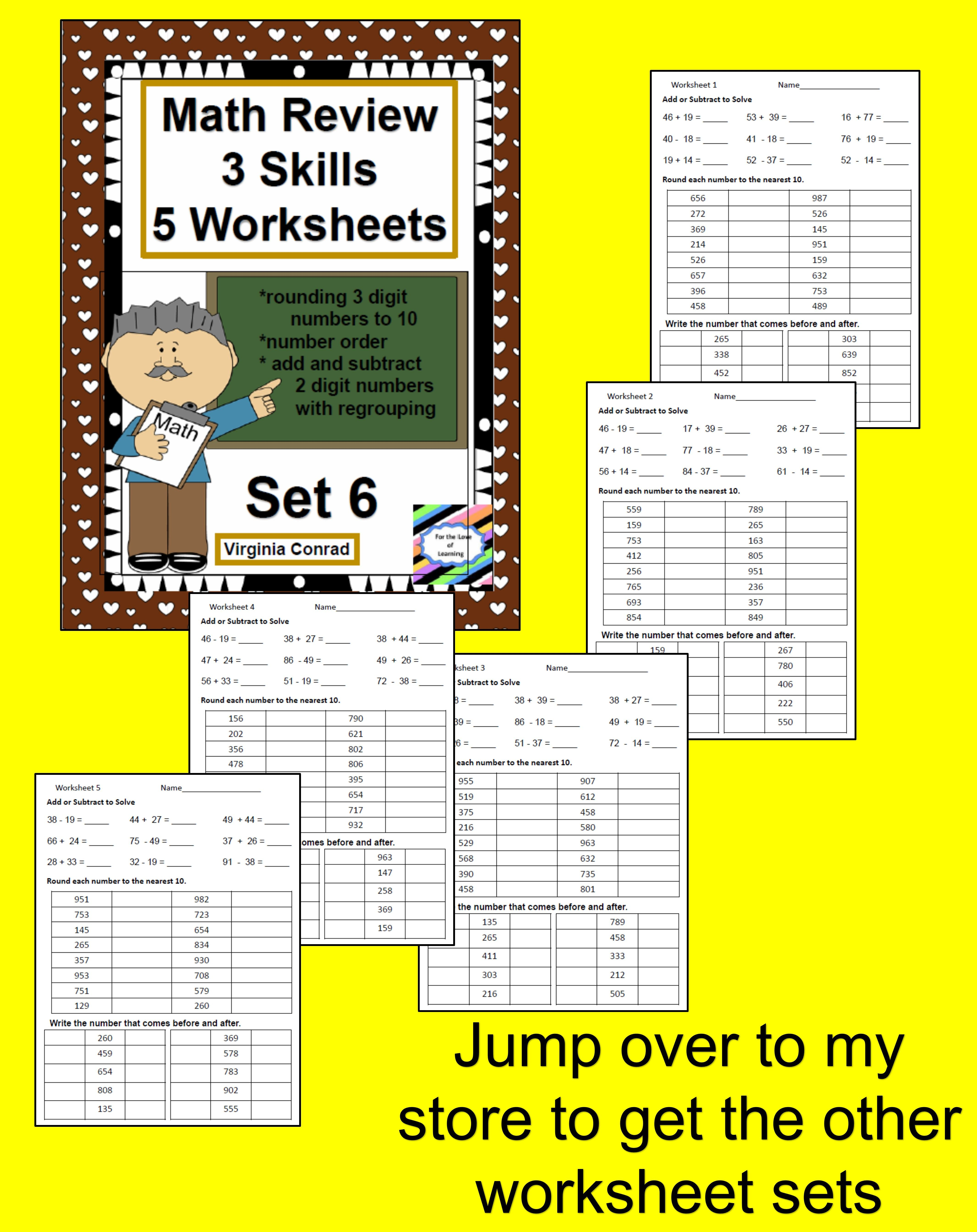 Math Review Worksheets 3 Skills For 5 Days Set 6