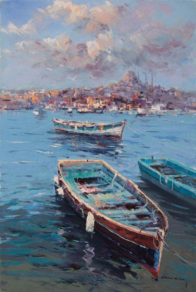 Istanbul Manzarasi Ve Sandallar Ilhan Kilinc Tekne Boyama