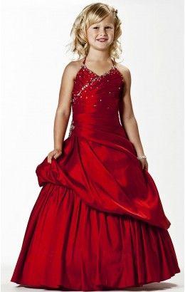 Wholesale Ball Gown Floor-length Halter Burgundy Taffeta Dress