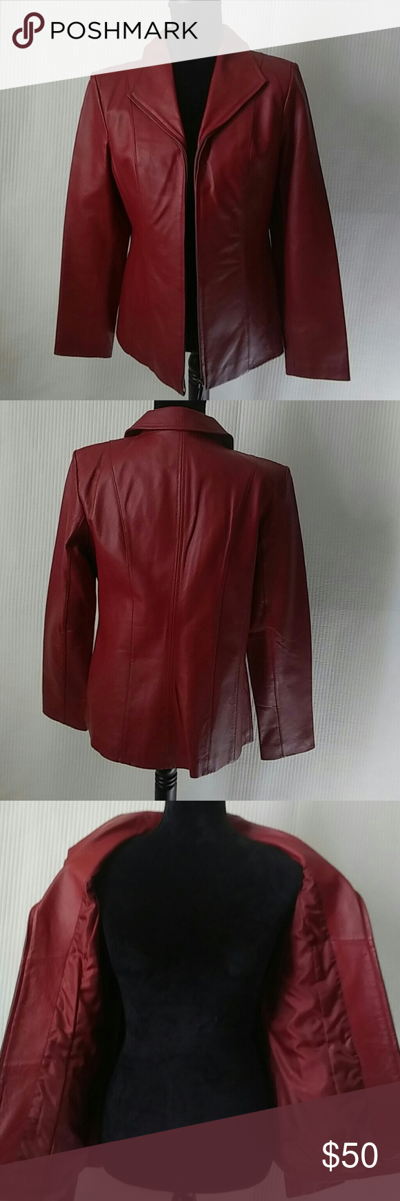 I have a woman's cranberry leather coat I have a